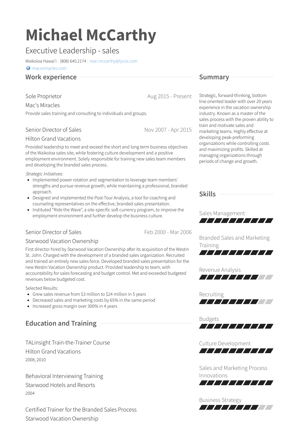 Sole Proprietor Resume Samples & Templates VisualCV