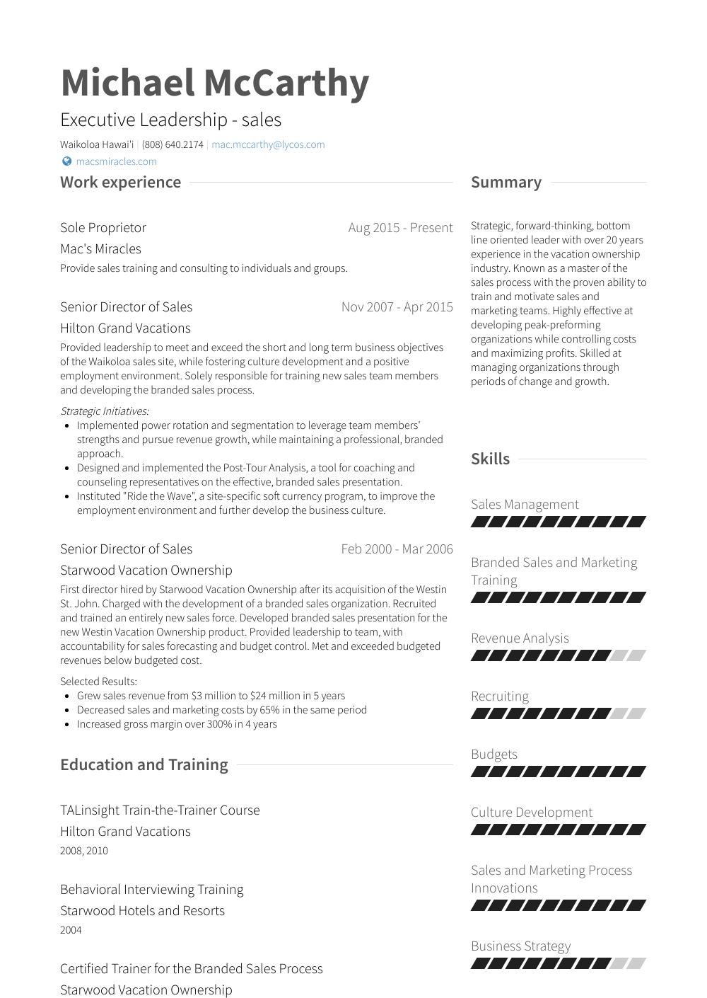 Sole Proprietor Resume Samples & Templates VisualCV