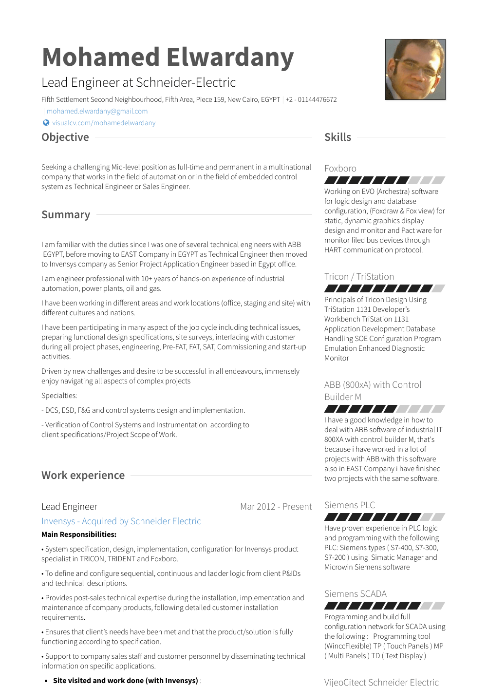 examples of a resume for a job application
