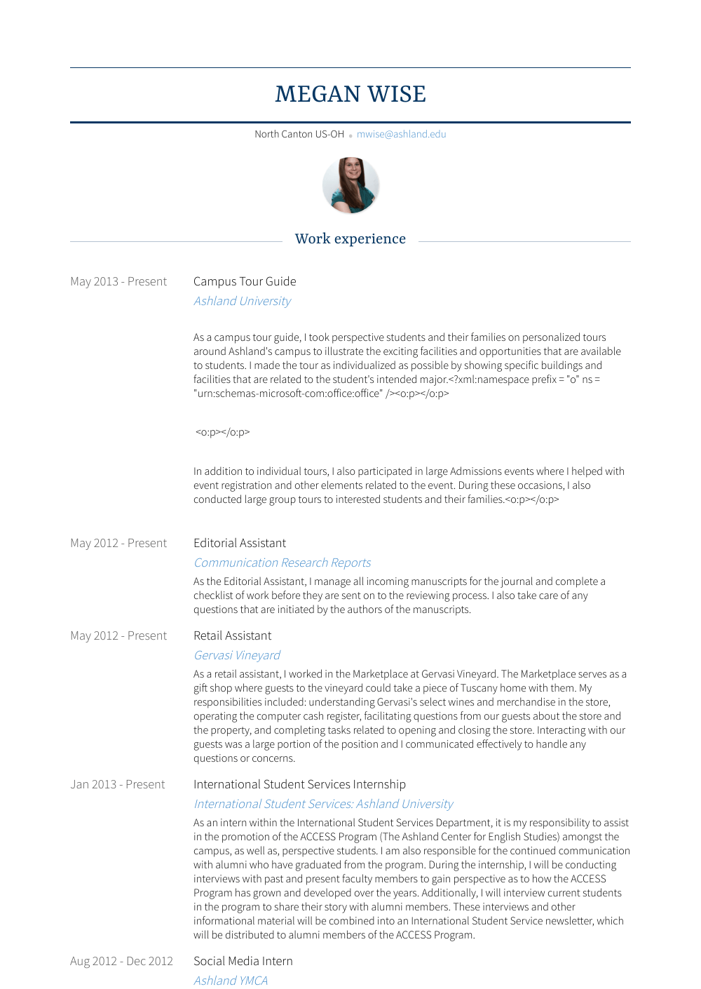 resume tour guide examples