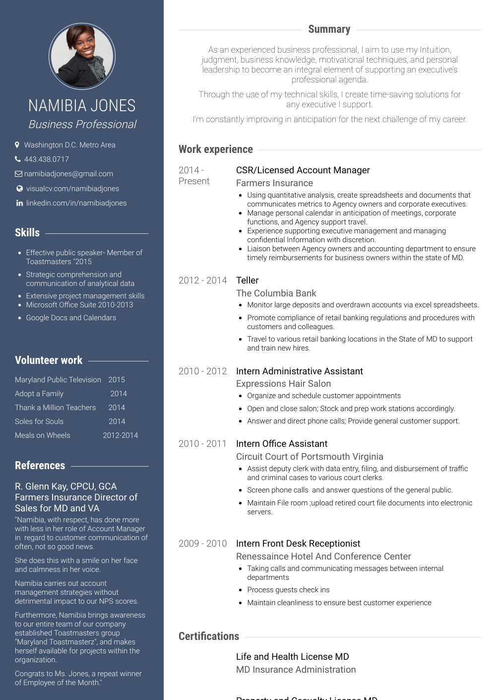 Csr Resume Samples & Templates VisualCV