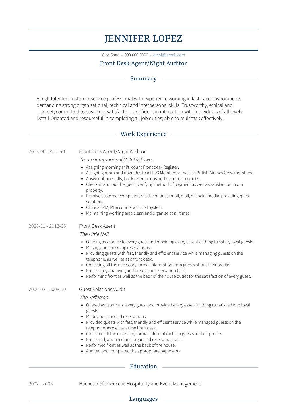 Night Auditor Resume Samples & Templates VisualCV