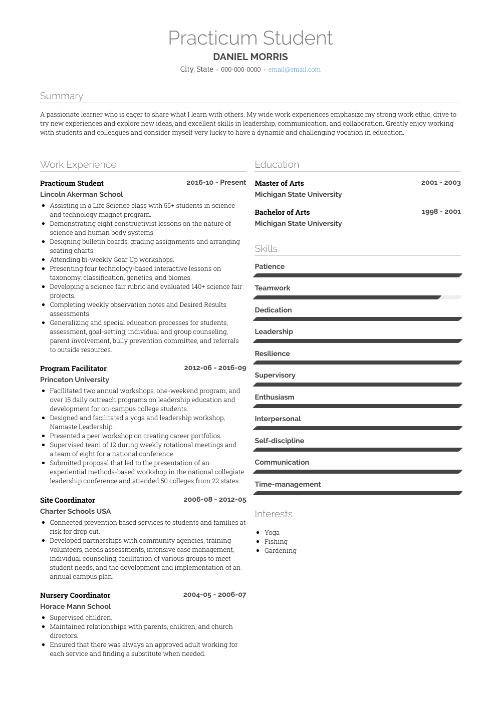 practicum resume sample