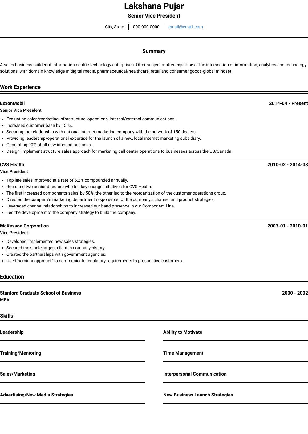 President Resume Samples & Templates VisualCV