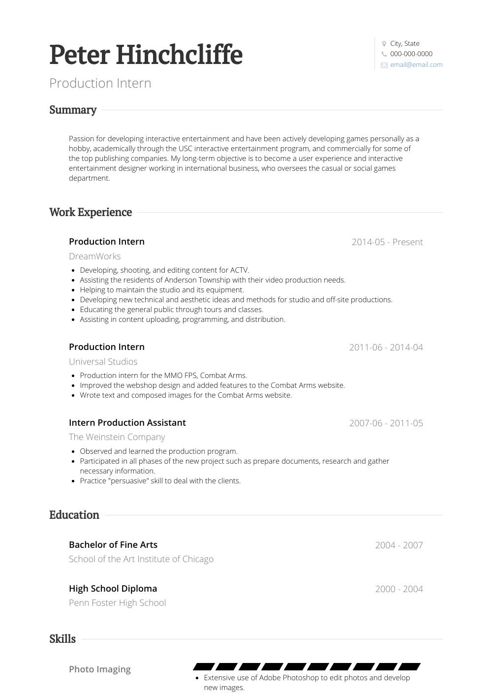 resume for publishing internship