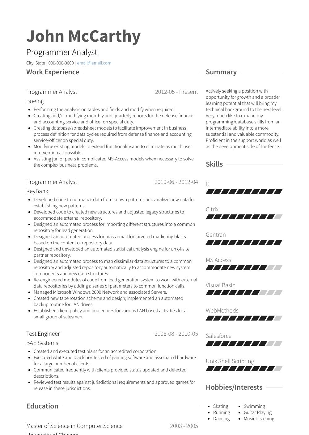 Programmer Analyst  Resume Samples  Templates  VisualCV