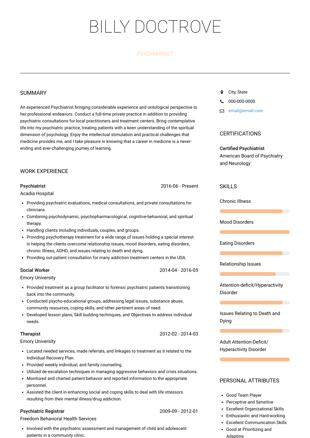 Psychiatrist  Resume Samples  Templates  VisualCV