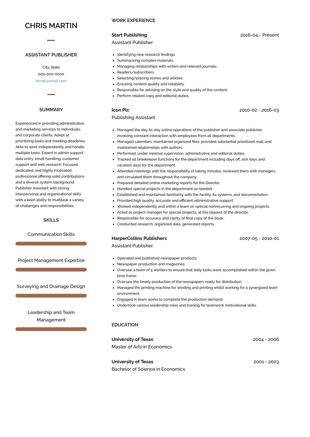 Publisher Resume Samples & Templates VisualCV