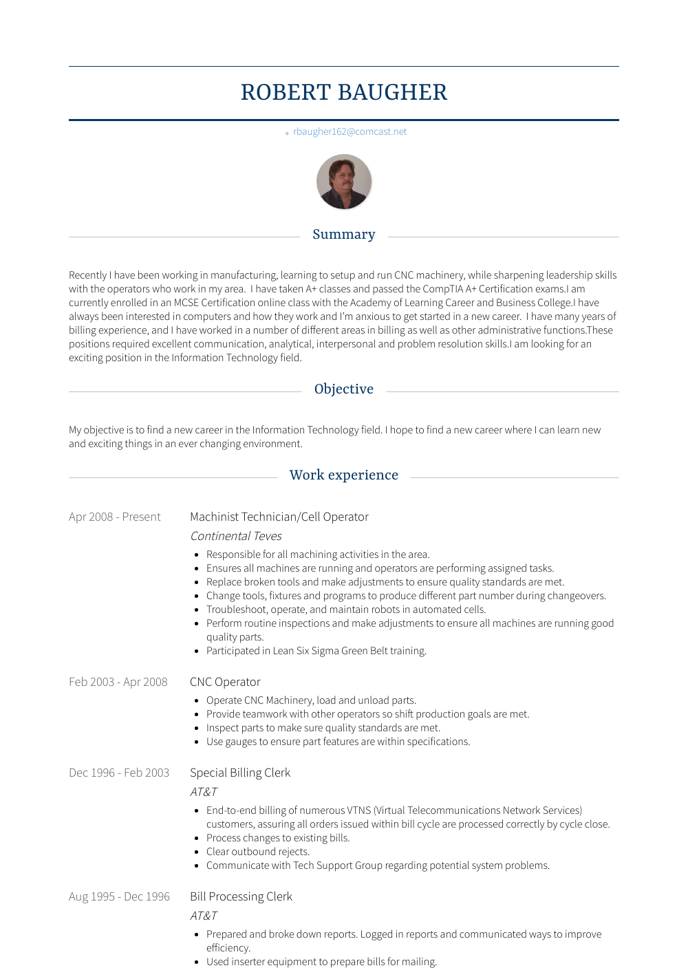 fitter machinist resume example