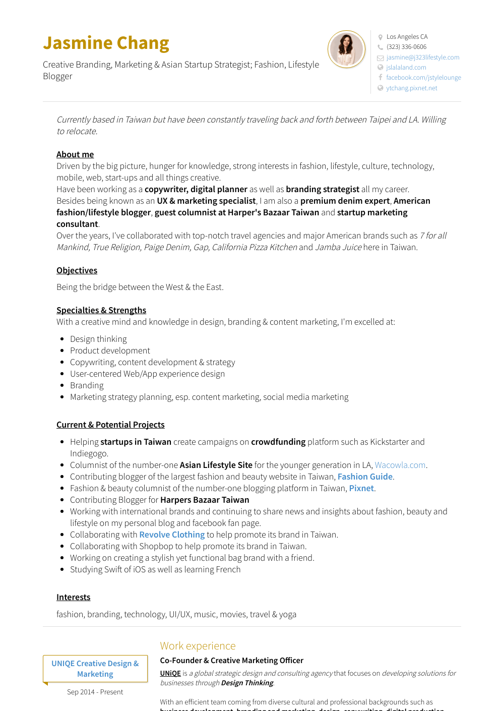 resume work of experience
