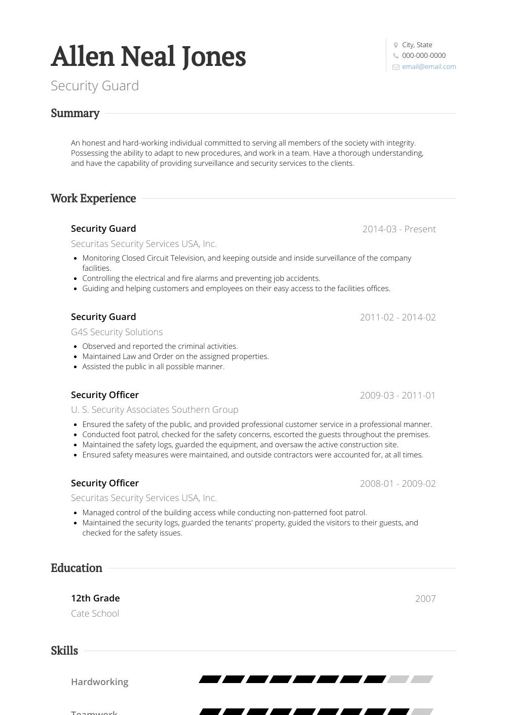 Security Guard Resume Samples & Templates VisualCV