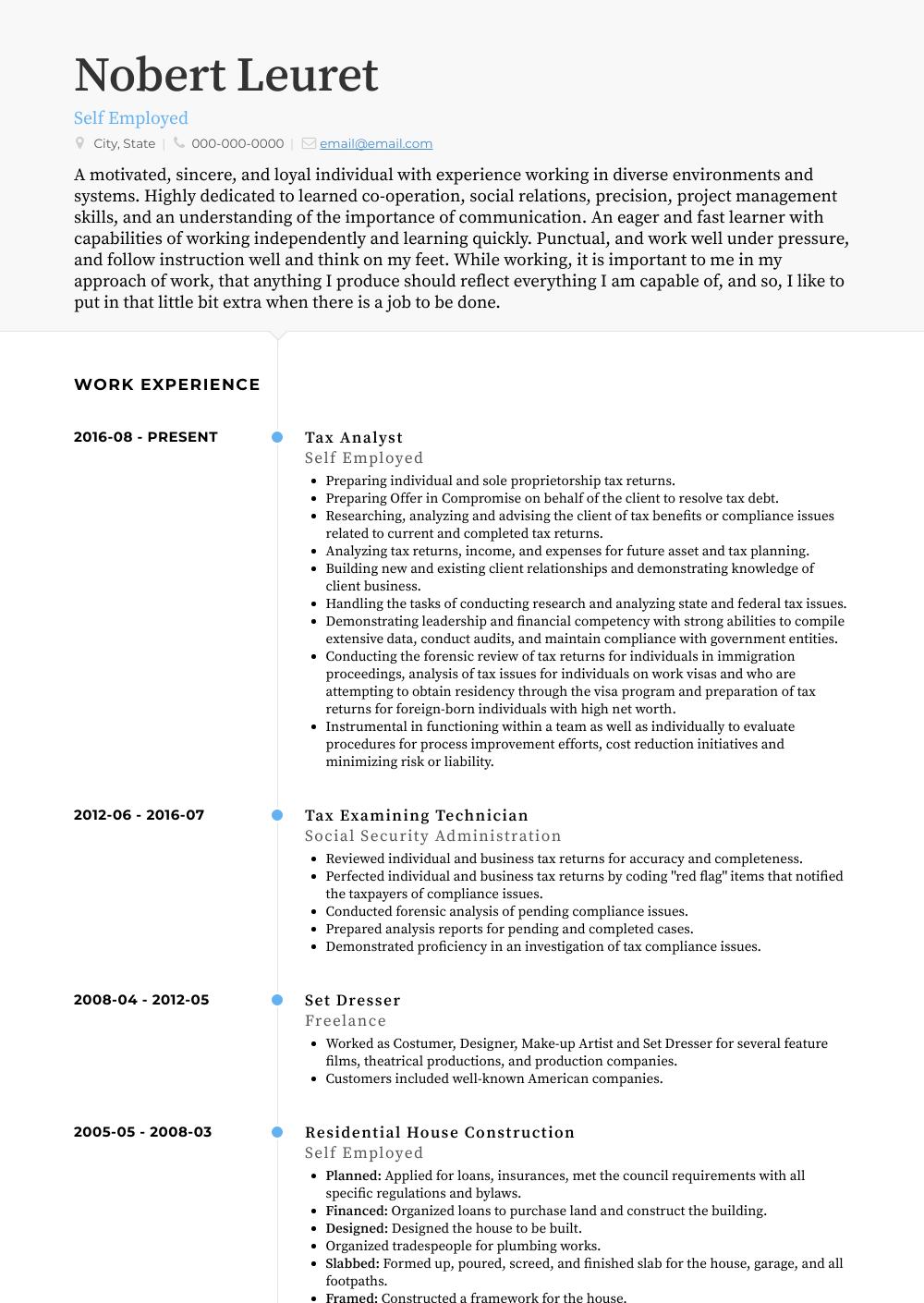 Self Employed Resume Samples & Templates VisualCV