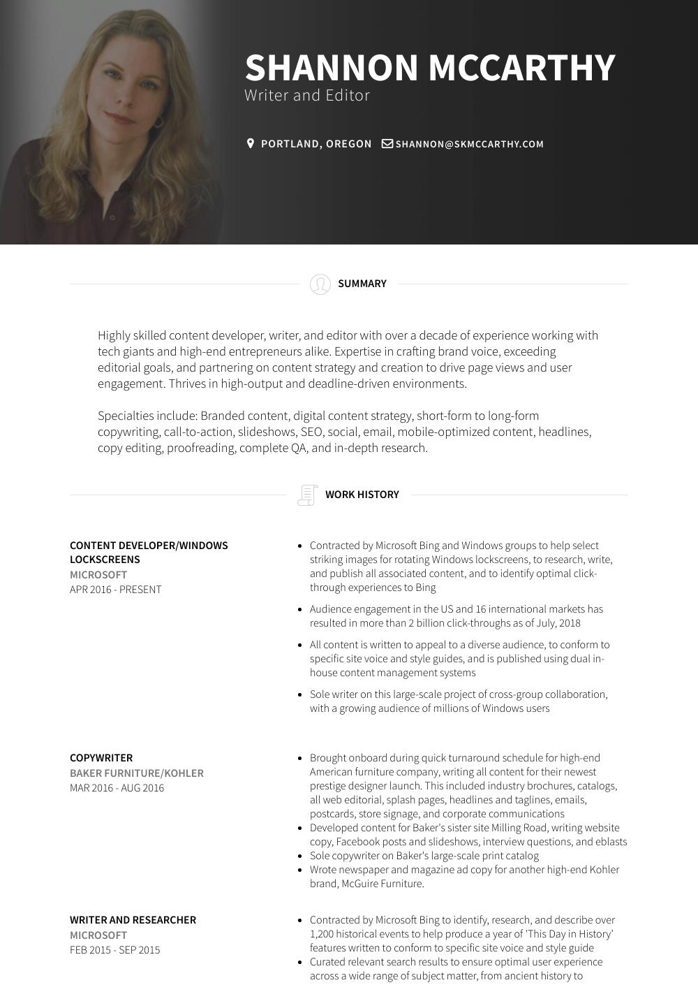 Copywriter Resume Samples & Templates VisualCV