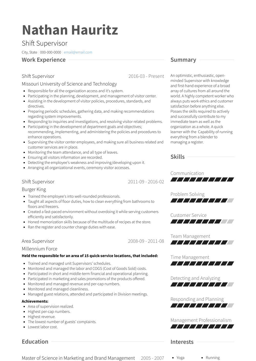 supervisor resume samples examples and tips