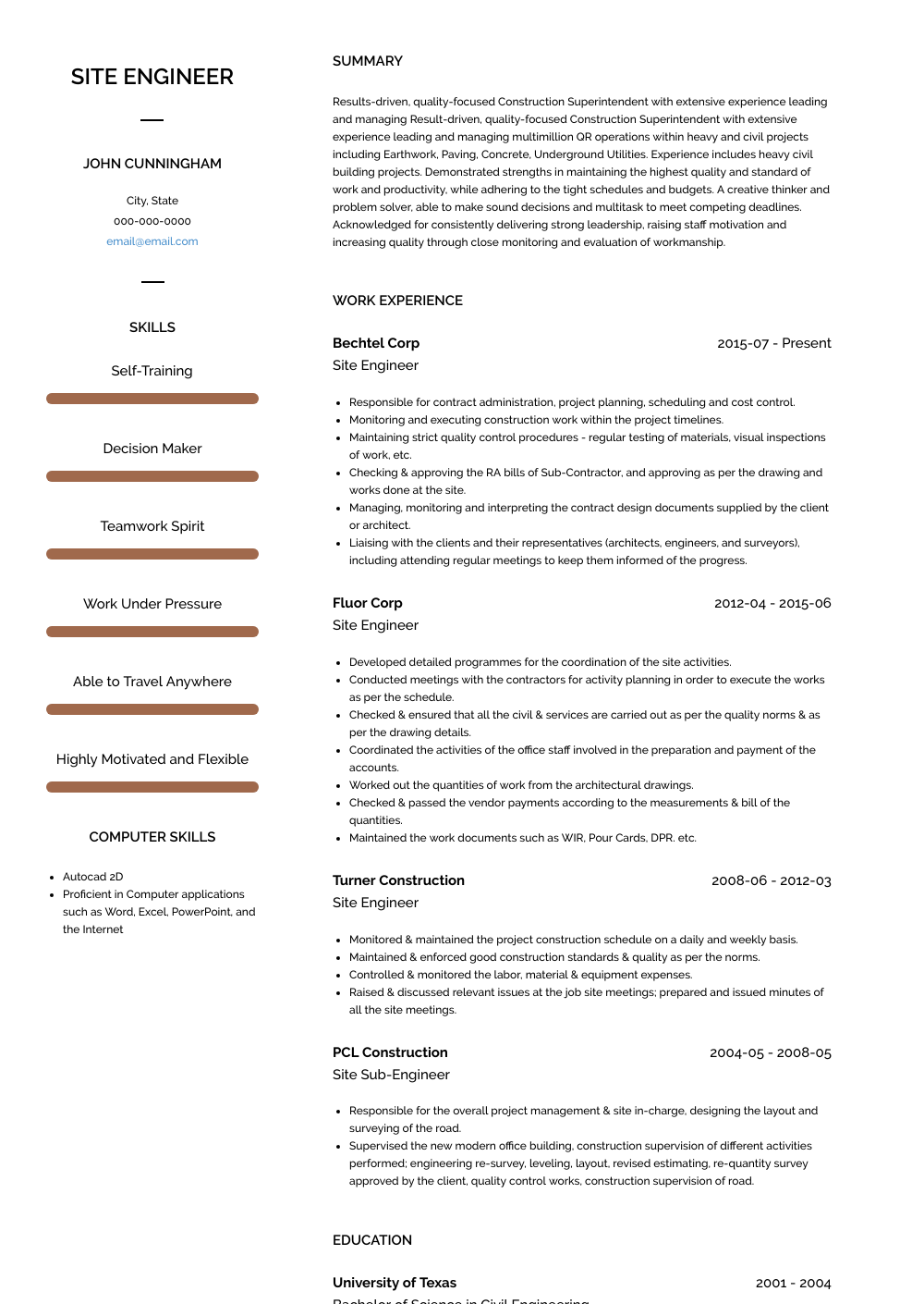 experience section of resume examples