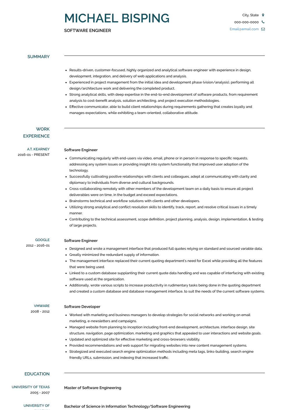 Software Professional Resume Samples Software Engineer Resume Samples Templates Visualcv