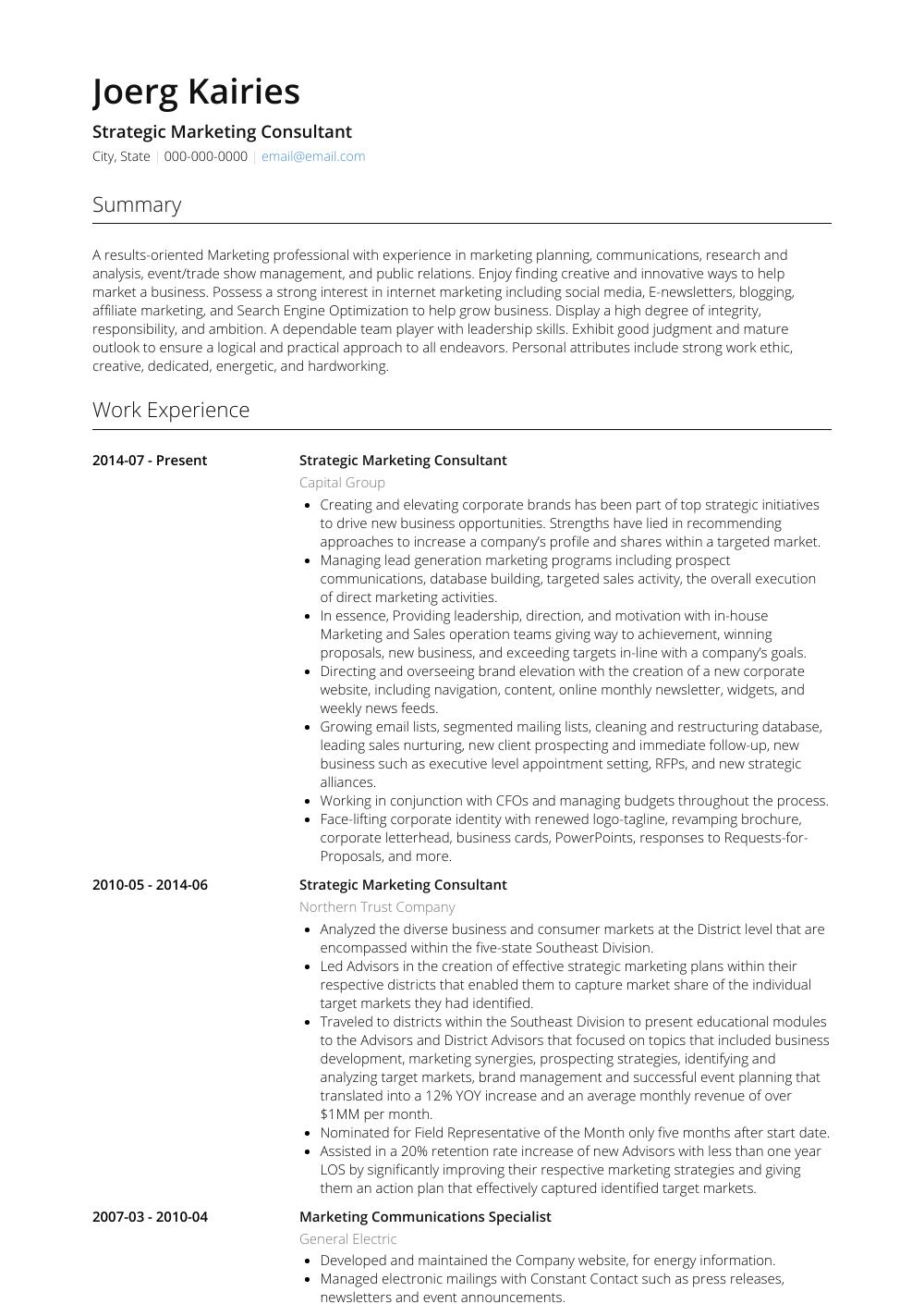 resume example marketing consultant