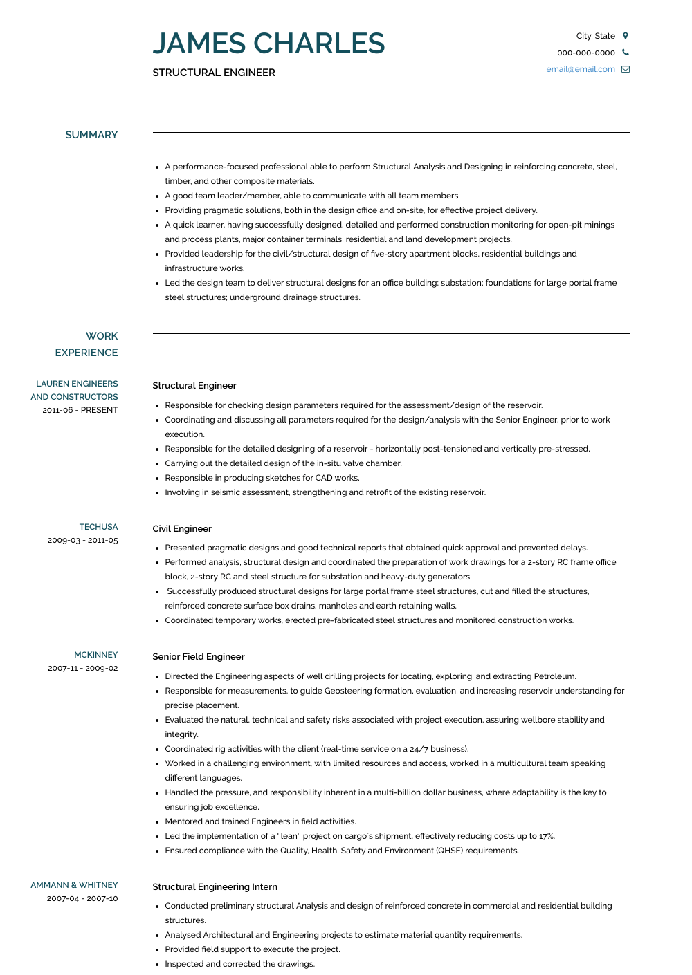 resume template for structural engineer