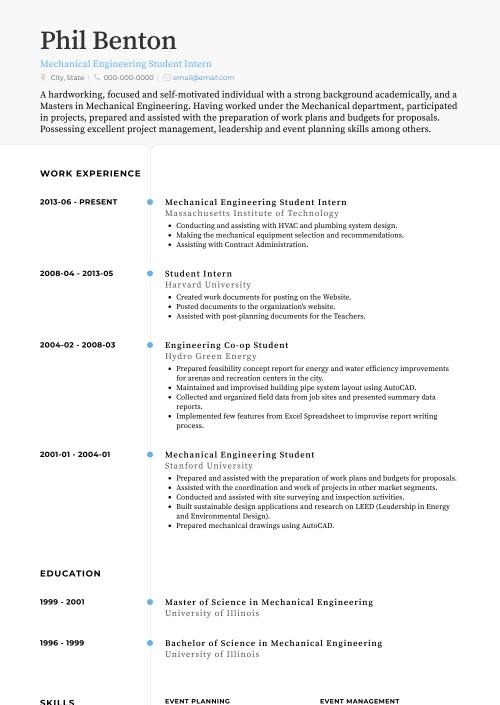 small resolution of mechanical engineering student intern resume sample