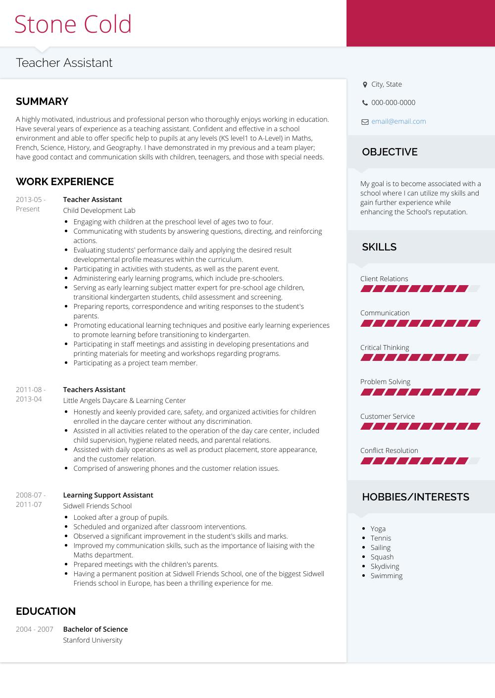 Teacher Assistant  Resume Samples  Templates  VisualCV