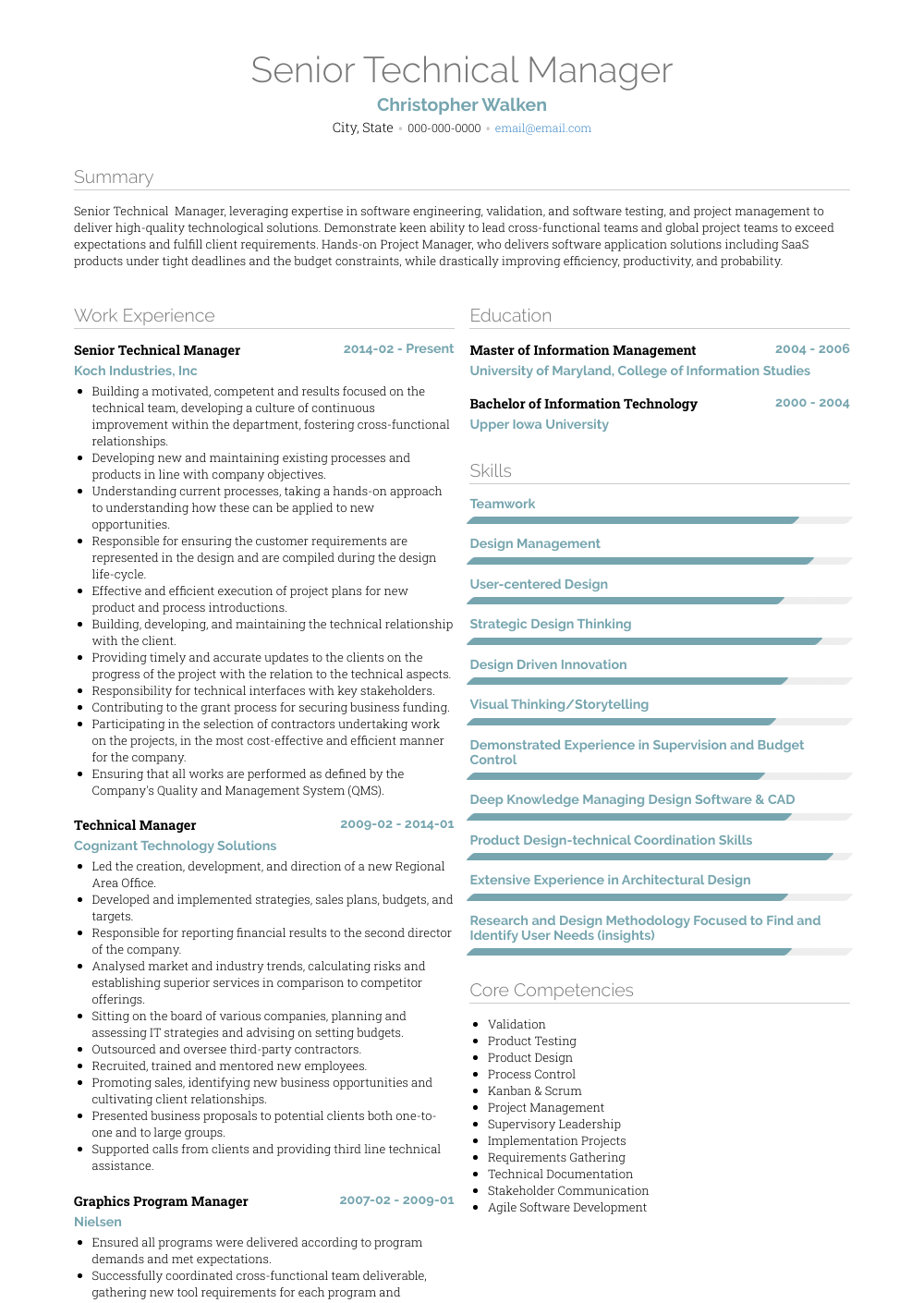 Technical Resume Tips Technical Manager Resume Samples Templates Visualcv