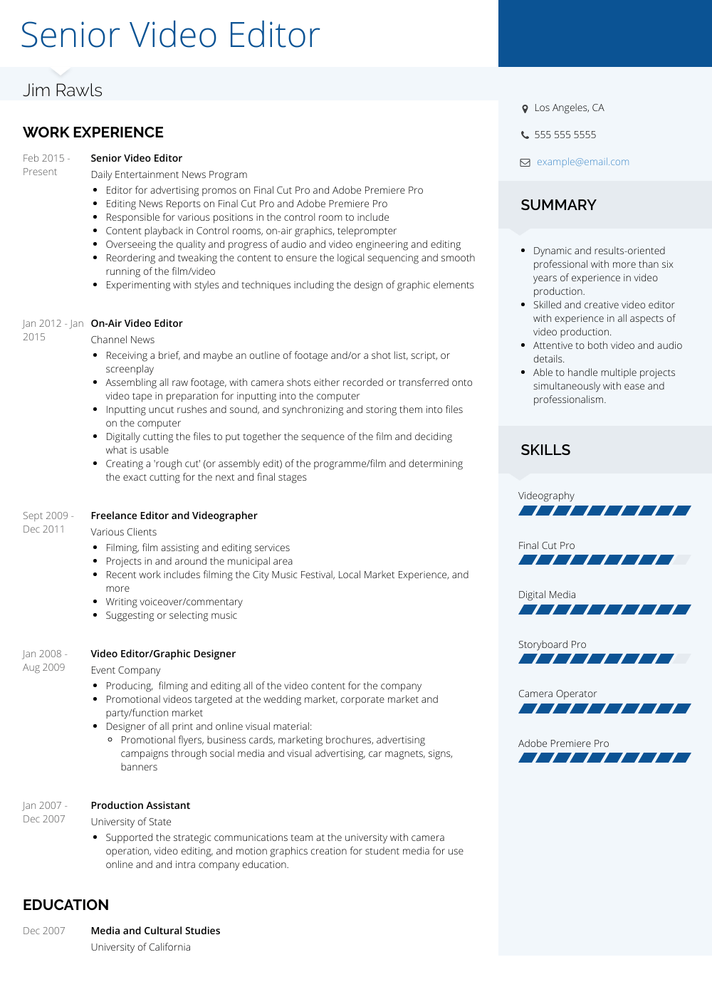 example editor resume