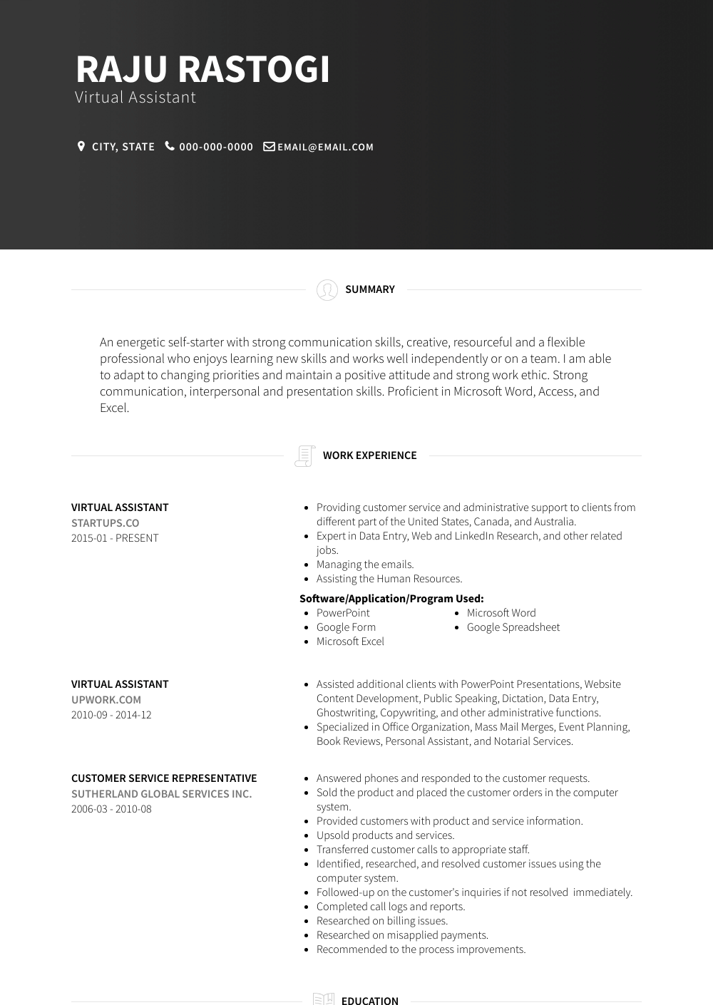 Virtual Assistant  Resume Samples  Templates  VisualCV