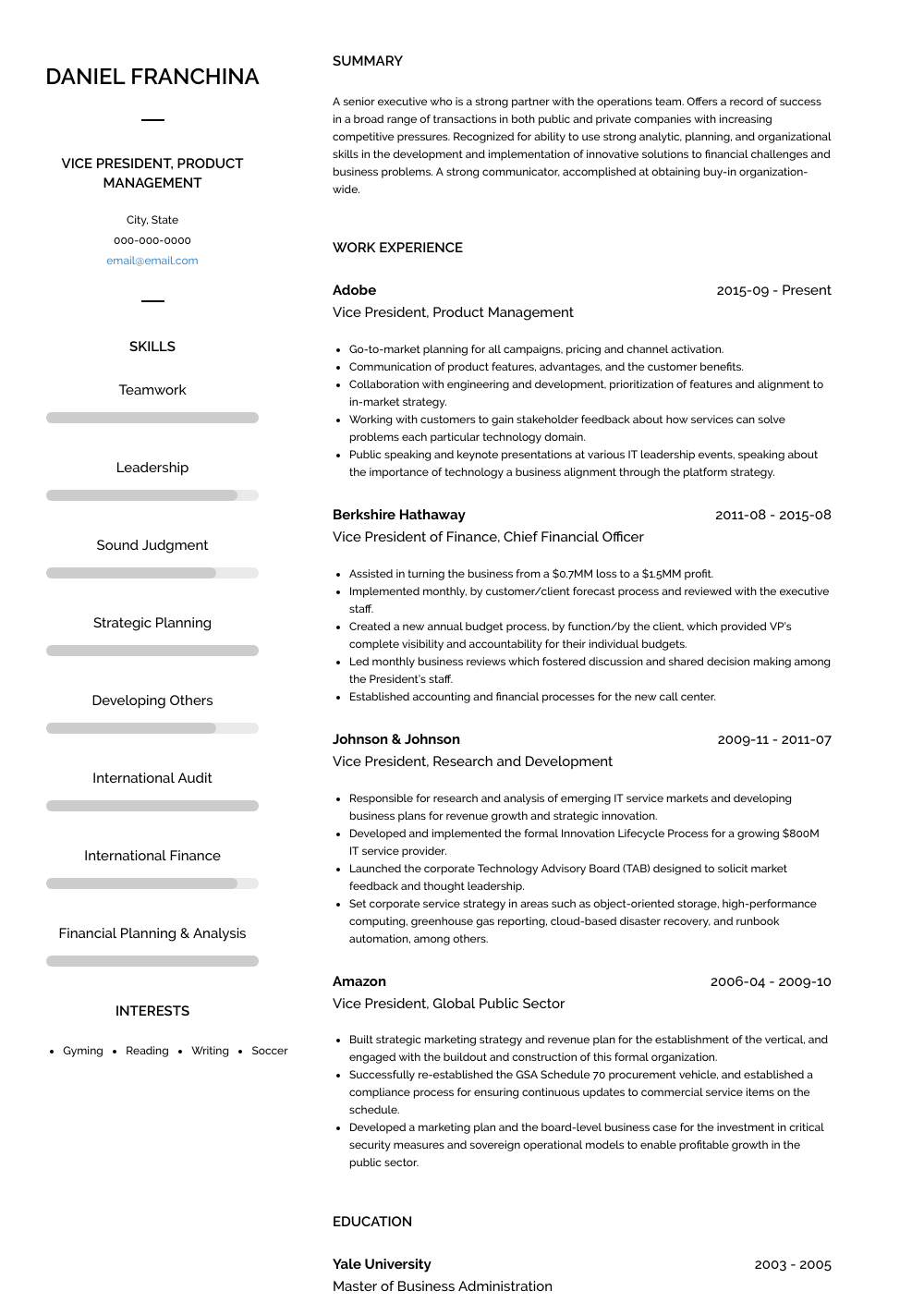 Business Management Resume Examples Vp Resume Samples Templates Visualcv