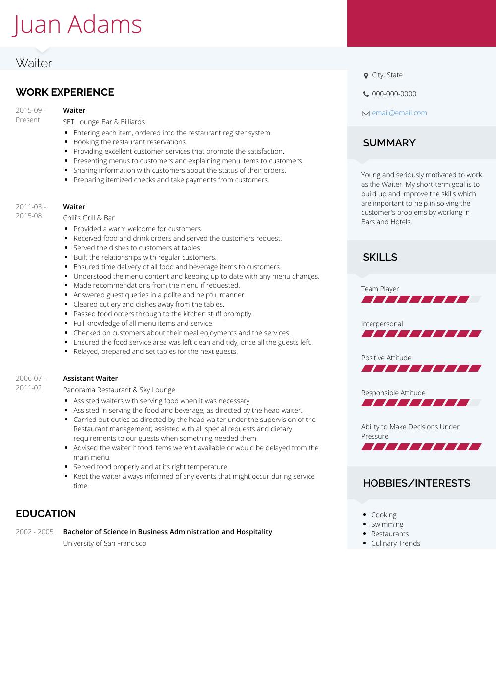 Waiter  Resume Samples and Templates  VisualCV