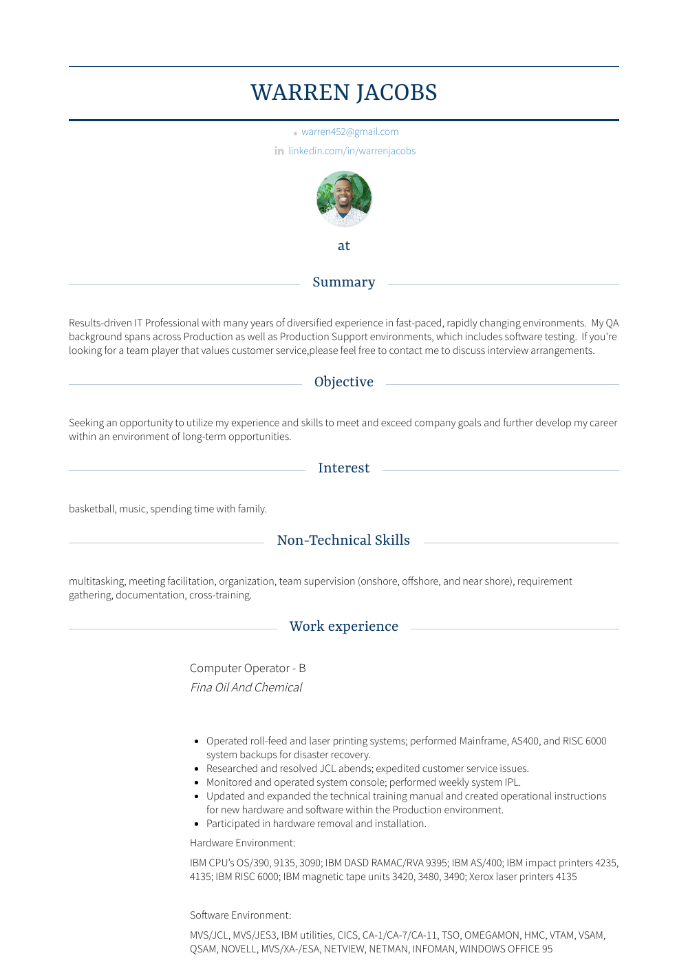 Chemical Operator Resume Computer Operator Resume Samples Templates Visualcv