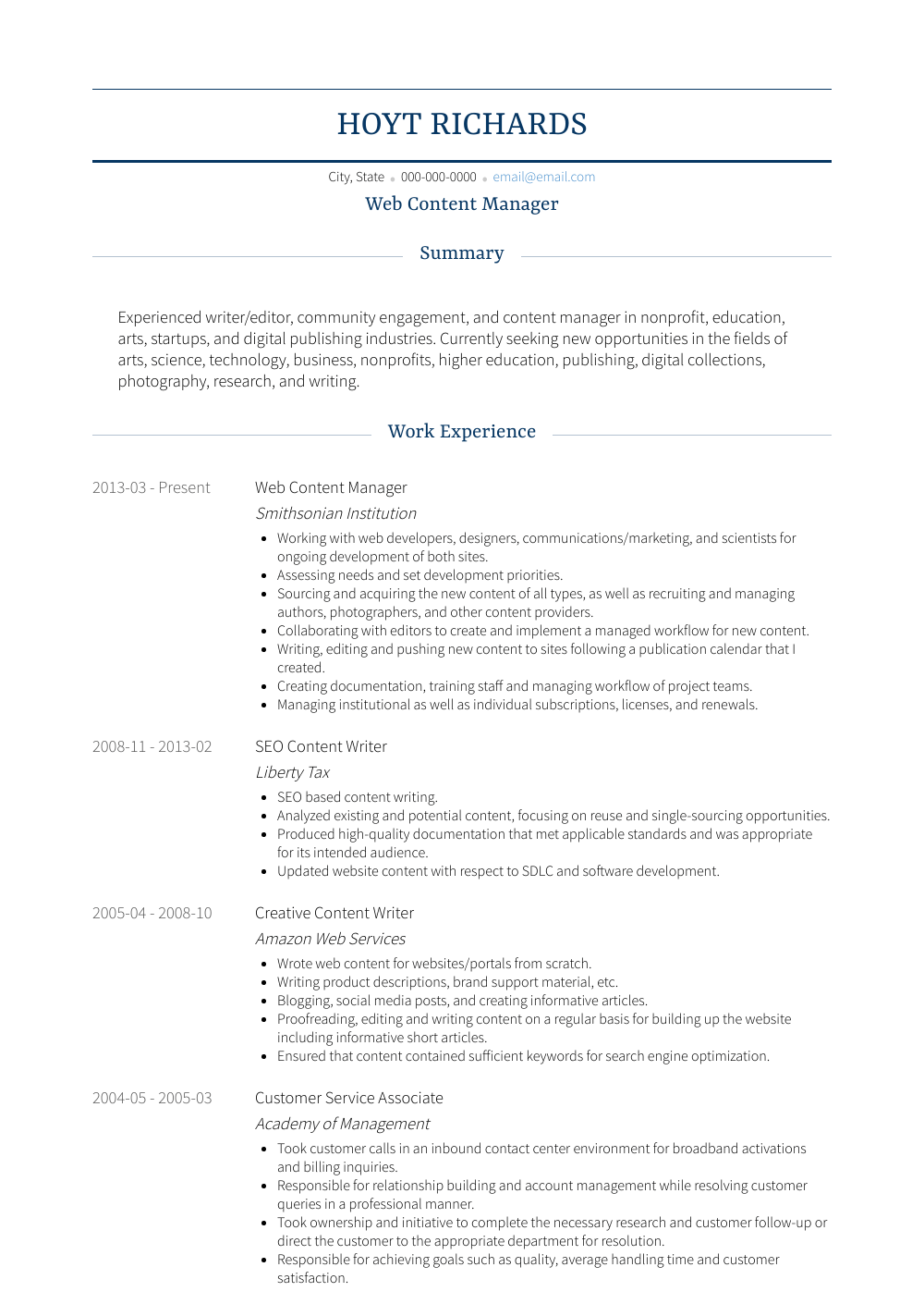 Web Content Manager  Resume Samples  Templates  VisualCV