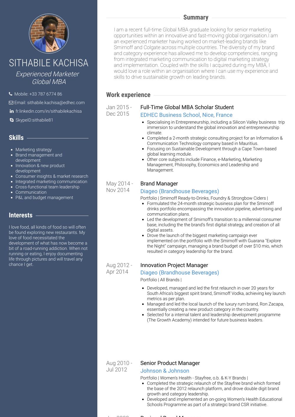 Mba  Resume Samples  Templates  VisualCV