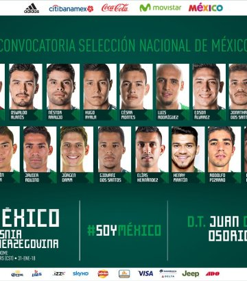 Revelan la primera lista de seleccionados de México para2018