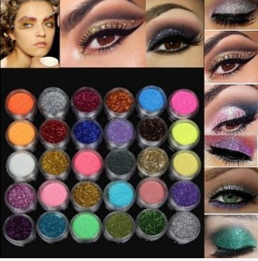 30 Colors 1 Set Glitter Spangle Eye Shadow Powder Pigment Kit Makeup Cosmetic Tool by Lovestore2555
