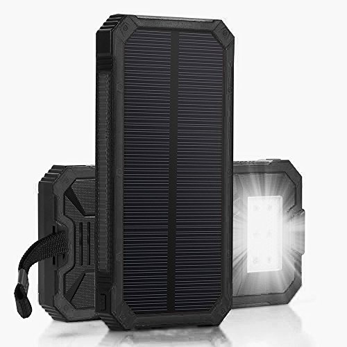 QueenAcc 15000mah Solar Panel Charger with LED Flashlight Portable Phone Charger Backup Power Pack Dual USB Port External Battery Charger