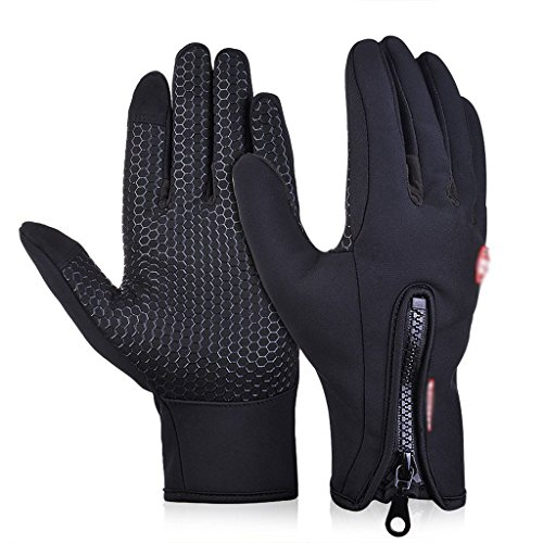 DREAMY Winter Touch Screen Windproof Coldproof Thermal Leisure Camping Thermal Gloves(blackMedium)