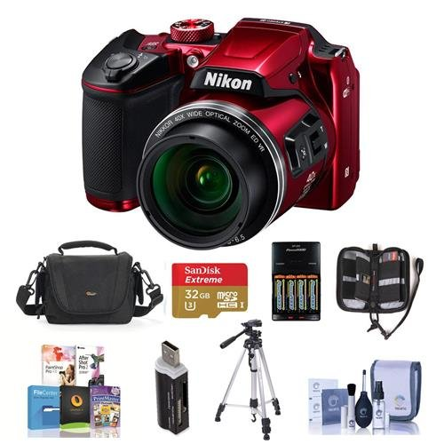 Nikon Coolpix B500 Digital Point & Shoot Camera Red – Bundle With Camera Bag 4 AA Rechargeable Batteries With charger 32GB