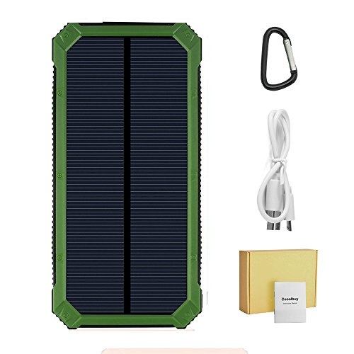 Cooolbuy 15000mAh Solar Charger Dual USB External Battery Charger Power Bank Outdoor Camping Travel Backup Charger for iPhone Samsung LG