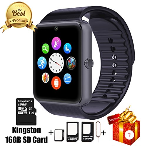 Jderv Smart Watch GT08 Bluetooth with 16GB SD Card and SIM Card Slot for Android Samsung HTC Sony LG HUAWEI ZTE OPPO XIAOMI and iPhone