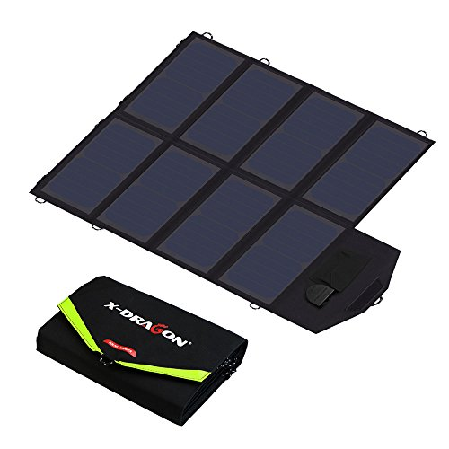 X-DRAGON Solar Charger 40W Sunpower Solar Panel Charger (5V USB + 18V DC) Laptop Charger for Phone NoteBook Laptop Tablet Apple