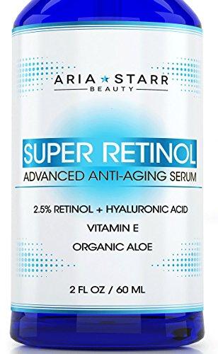 AriaStarrBeauty 2.5% Retinol Serum, with Hyaluronic Acid, Vitamin E, Aloe, Jojoba Oil, Green Tea, 2 Fl OZ