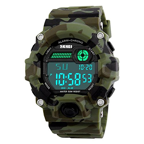 Men's Digital LED Sport WatchWaterproof Electronic Casual Military Wrist Camouflage Strap Boys Watch With Silicone Band Luminous