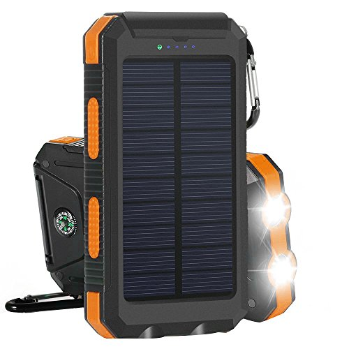 Solar Charger Solar Power Bank 10000mAh External Backup Battery Pack Dual USB Solar Panel Charger with 2LED Light Carabiner Compass