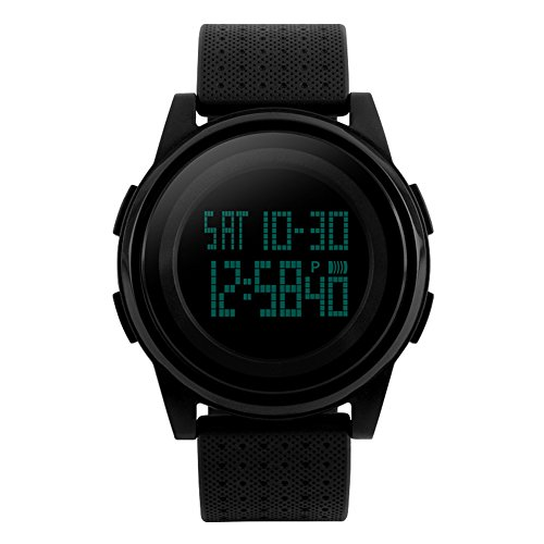 Men Sport Digital Watch Waterproof Electronic Military 24H Dual Two Time Quartz Casual LED Back Light Thin Unique Simple Design 50M Water