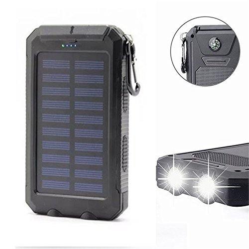 Solar Power Bank 20000mAh Solar Charger Waterproof Portable External Battery USB Charger Built in LED light with Compass for iPad iPhone