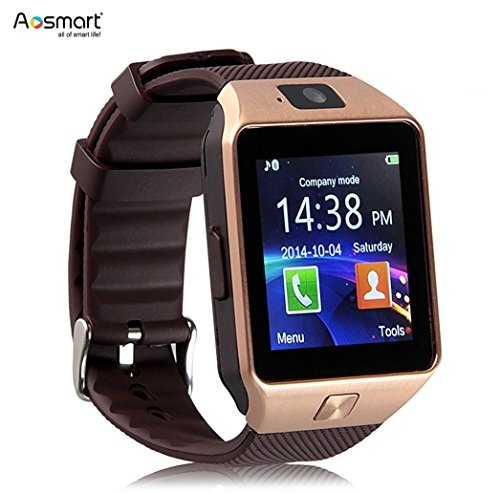 Bluetooth Smart Watch with Camera Aosmart DZ09 Smartwatch for Android Smartphones – Gold