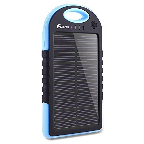 Solar ChargerF.Dorla 5000mAh Portable Solar Phone Charger Power Bank Waterproof Dual USB Battery Charger External Battery Pack with