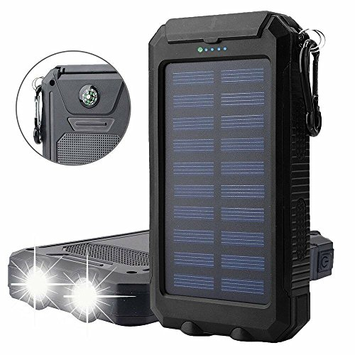Solar Charger Solar Power Bank 20000mAh Waterproof Portable External Battery USB Charger Built in LED light with Compass for iPad iPhone