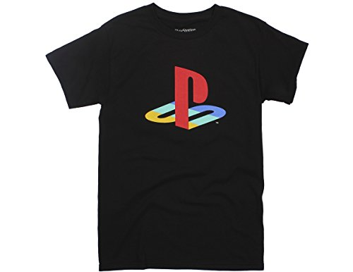 Ripple Junction PlayStation Logo Adult T-Shirt Medium Black