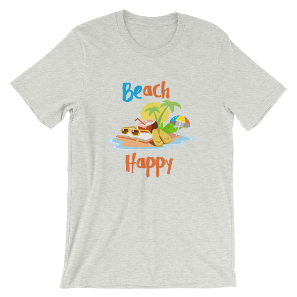 mockup e4dc6778 - Beach Happy T-Shirt - Beach Short-Sleeve Unisex Tee